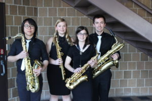 Gravity Quartet,from left, Chi Him Chik, Kendra Heslip, Julia Kuhlman, and Chris Murphy.