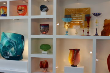 Art glass on display at Hakel home.