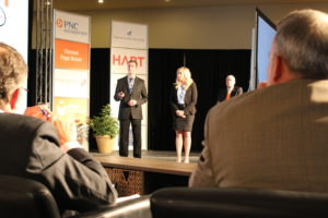 Kiersten Castner and  Collin Newton make their case for their product to investors at The Hatch.