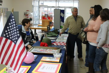 A display honored Latinos who served in the military.