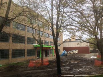 The new Michael and Sara Center , new home for the School of Media and Communication, under construction.