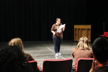 Lauren Lash does a cold reading of a monologue at Musical Theatre Camp at BGSU.