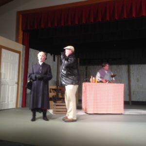 "From left, Peggy Keyes, Leroy Morgan and Lane Hakel performing ""The Black Bonspiel of Wullie MacCrimmon"" last September. All three actors won awards at the Northwest Region OCTA conference."