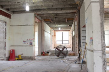 Construction underway inside Moseley Hall.