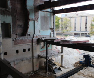 A new classroom space will be built in the space above what used to be the Eva Marie Saint Theatre in University Hall.