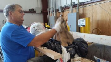 "Ken Rieman pulls a filthy towel out of bagged ""recyclables."""