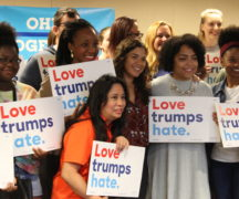 America Ferrera poses with students before they head off the canvass Sunday, Sept. 25.