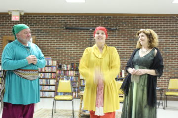 Getting ready for the costume party Lane Hakel as Vanya, Kristin Forman as Nina, and Deb Shaffer as Sonia.